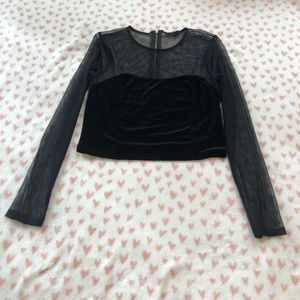 Black long sleeve crop top from express